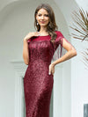 Women'S Sexy Fishtail Sequin Evening Dress With Tassels-Burgundy 5
