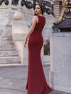 Sexy V-Neck Floor Length Mermaid Party Dress With Sequin-Burgundy 2