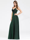 Women'S V-Neck Spaghetti Straps Stretchy Evening Dress-Dark Green  3