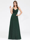 Women'S V-Neck Spaghetti Straps Stretchy Evening Dress-Dark Green  1
