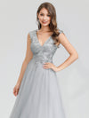Women'S Fashion Double V-Neck Evening Dress-Grey 5
