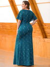 Women'S V-Neck Floral Lace Mermaid Dress-Teal  2