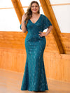 Women'S V-Neck Floral Lace Mermaid Dress-Teal  4