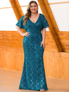 Women'S V-Neck Floral Lace Mermaid Dress-Teal  1