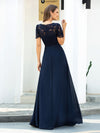 Morden Floral Lace Round Neck Short Sleeve Chiffon Evening Dress-Navy Blue 2