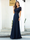 Morden Floral Lace Round Neck Short Sleeve Chiffon Evening Dress-Navy Blue 3