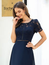 Morden Floral Lace Round Neck Short Sleeve Chiffon Evening Dress-Navy Blue 5