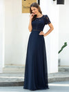 Morden Floral Lace Round Neck Short Sleeve Chiffon Evening Dress-Navy Blue 1