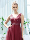 Women'S Fashion A-Line  Floor Length Bridesmaid Dress-Burgundy 5