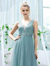Women'S Fashion A-Line  Floor Length Bridesmaid Dress-Dusty Blue 5