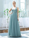 Women'S Fashion A-Line  Floor Length Bridesmaid Dress-Dusty Blue 1