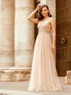 Women'S Fashion A-Line  Floor Length Bridesmaid Dress-Rose Gold 1