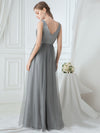 Women'S V Neck Sleeveless Floor Length Tulle Evening Dress-Grey 2