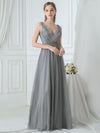 Women'S V Neck Sleeveless Floor Length Tulle Evening Dress-Grey 3