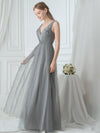 Women'S V Neck Sleeveless Floor Length Tulle Evening Dress-Grey 4
