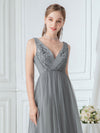 Women'S V Neck Sleeveless Floor Length Tulle Evening Dress-Grey 5