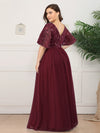Plus Size V-Neck Ruffle Sleeve Embroidery Tulle Bridesmaid Dress-Burgundy 7