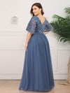 V-Neck Ruffle Sleeve Embroidery Tulle Bridesmaid Dress-Dusty Navy 7