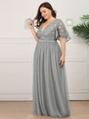 Plus Size V-Neck Ruffle Sleeve Embroidery Tulle Bridesmaid Dress-Grey 8