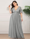 Plus Size V-Neck Ruffle Sleeve Embroidery Tulle Bridesmaid Dress-Grey 6