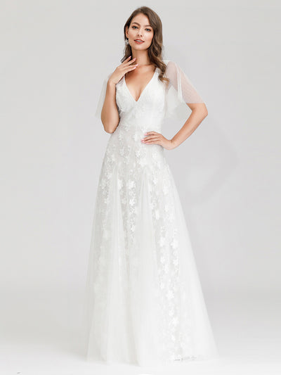 V-Neckline Tulle sleeves Lace Appliqued Wedding Dress