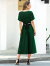 Deep V Neck Ruffle Sleeve A-Line Short Cocktail Dress-Dark Green 2