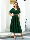 Deep V Neck Ruffle Sleeve A-Line Short Cocktail Dress-Dark Green 4