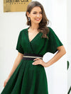 Deep V Neck Ruffle Sleeve A-Line Short Cocktail Dress-Dark Green 5