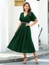 Deep V Neck Ruffle Sleeve A-Line Short Cocktail Dress-Dark Green 1