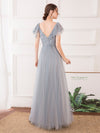 Deep V Neckline Ruffle Sleeve A-Line Lace Tulle Bridesmaid Dresses-Grey 2