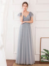 Deep V Neckline Ruffle Sleeve A-Line Lace Tulle Bridesmaid Dresses-Grey 3