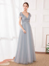 Deep V Neckline Ruffle Sleeve A-Line Lace Tulle Bridesmaid Dresses-Grey 4