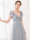 Deep V Neckline Ruffle Sleeve A-Line Lace Tulle Bridesmaid Dresses-Grey 5