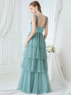 Deep V Neckline Sleeveless A-Line Layered Tulle Bridesmaid Dresses-Dusty Blue  2