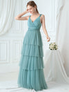 Deep V Neckline Sleeveless A-Line Layered Tulle Bridesmaid Dresses-Dusty Blue  3