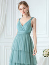 Deep V Neckline Sleeveless A-Line Layered Tulle Bridesmaid Dresses-Dusty Blue  5