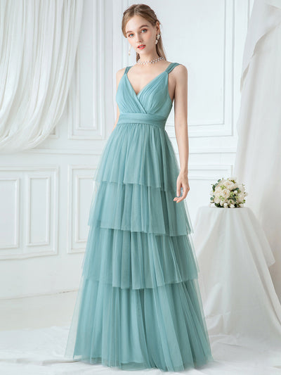 Deep V Neckline Sleeveless A-Line Layered Tulle Bridesmaid Dresses