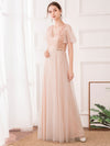 Maxi A-Line Cross V-neck Tulle Bridesmaid Dress with Sequin Stripes-Blush 3