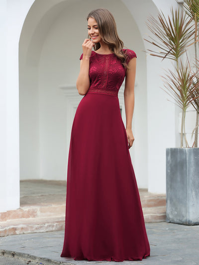 Women's Cap Sleeve Long Bridesmaid Dresses with Floral Lace