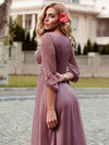 Women'S Sexy V-Neck Long Sleeve Evening Dress-Purple Orchid 4
