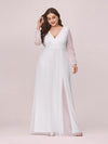 Women'S Sexy V-Neck Long Sleeve Evening Dress-White 4