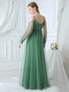 Romantic Spaghetti Straps Sheer Sleeves Applique Tulle Bridesmaid Dresses-Green Bean 2