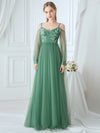 Romantic Spaghetti Straps Sheer Sleeves Applique Tulle Bridesmaid Dresses-Green Bean 3
