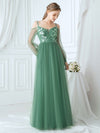Romantic Spaghetti Straps Sheer Sleeves Applique Tulle Bridesmaid Dresses-Green Bean 4