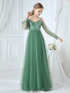 Romantic Spaghetti Straps Sheer Sleeves Applique Tulle Bridesmaid Dresses-Green Bean 1