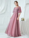 Women'S Romantic O Neck Ruffle Sleeve Bridesmaid Maxi Dresses-Purple Orchid 3