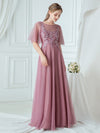 Women'S Romantic O Neck Ruffle Sleeve Bridesmaid Maxi Dresses-Purple Orchid 4