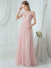 Elegant Round Neck Tulle Applique Bridesmaid Dress-Pink 4