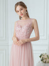 Elegant Round Neck Tulle Applique Bridesmaid Dress-Pink 5
