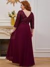 Plus Size Sexy V Neck A-Line Sequin Evening Dress-Burgundy 2